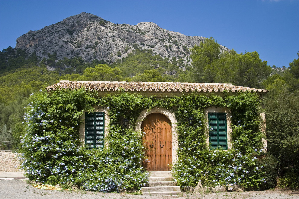 This beautiful vine-covered cottage in Mallorca, Spain.