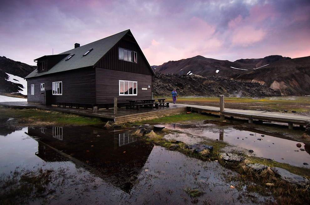 This cottage tucked away in the mountains in Landmannalaugar, Iceland.
