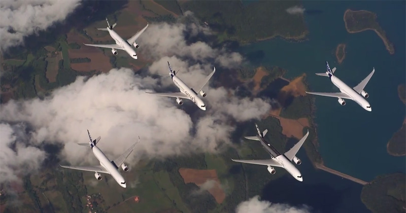 When Five Commercial Airliners Make Fighter Jet Formations