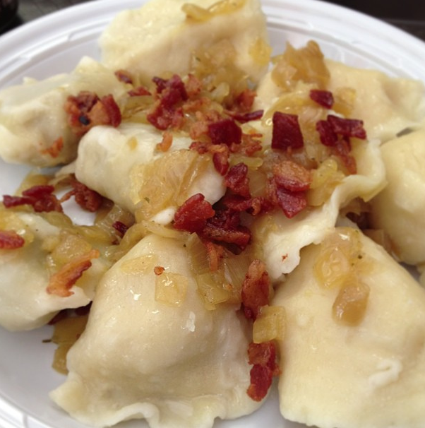 A half-dozen pierogis at Pierogi Heaven.