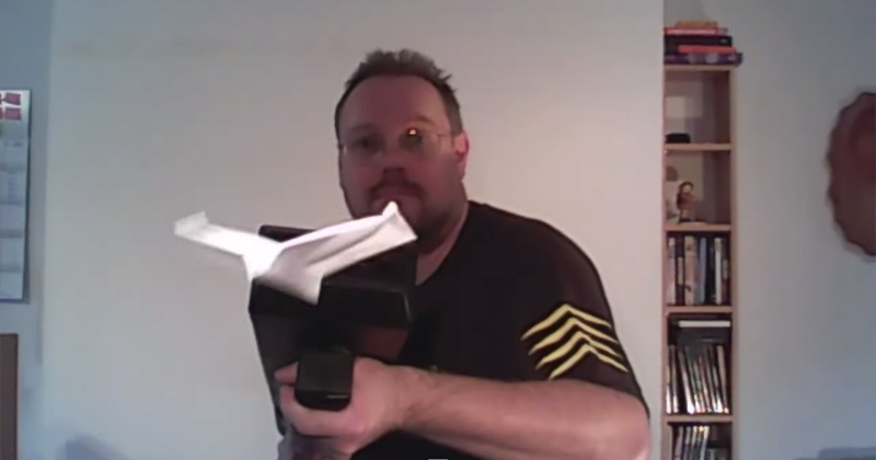 Guy Builds Machine Gun that Folds and Shoots Paper Airplanes