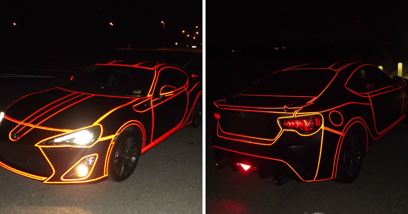 Guy Makes Tron Car Using Reflective Vinyl Tape