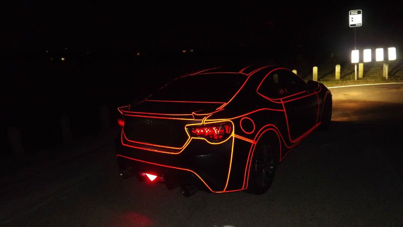 this guy made a tron car using reflective vinyl tape (6)