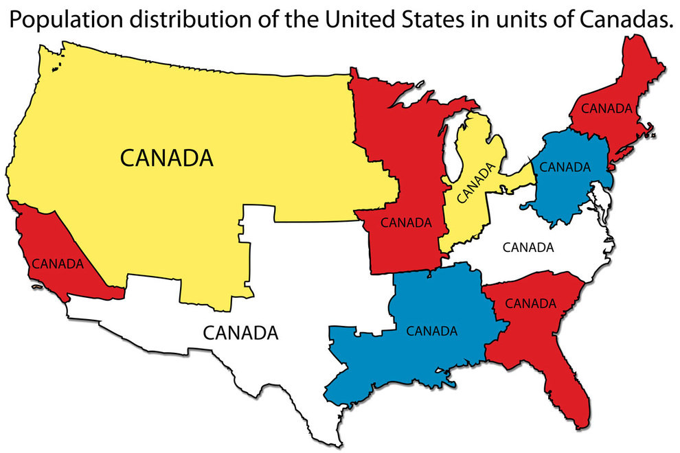 Maps That Explain The US For Dumb Foreigners Totally Nailed It - Us map scaled by population