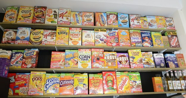 The café has a wide selection of cereals.
