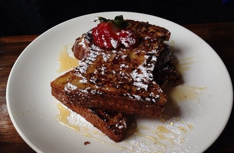 The strawberry-mascarpone-stuffed French toast — made with homemade brioche — at The Rabbithole.