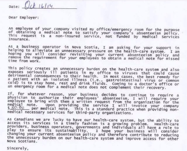 This Canadian Doctor's Reply to a Company's Medical Note Policy is Perfect