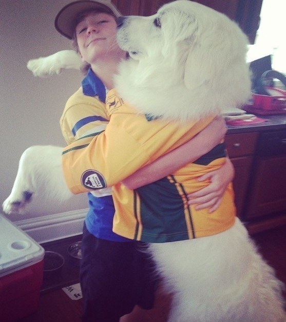 This loving human who just knew when his pal needed a big hug to brighten his day.