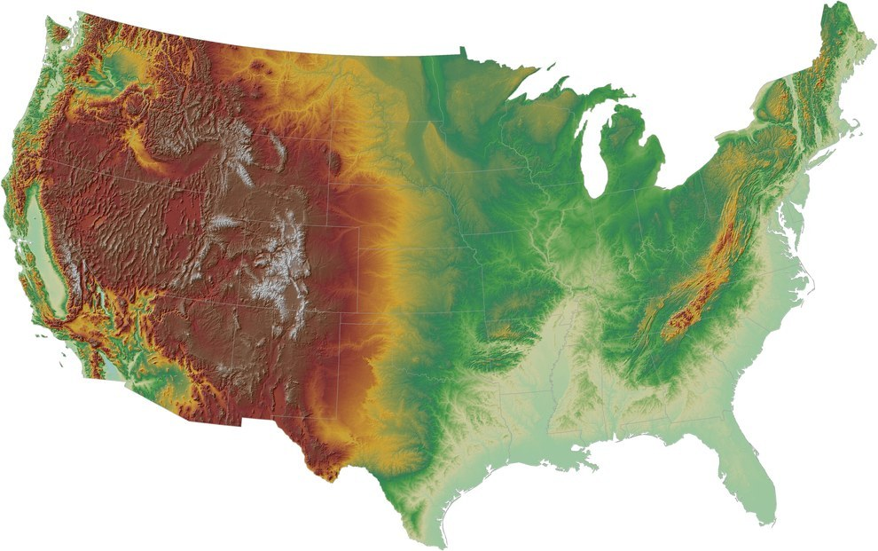Map Of Us Terrain - 3d topographical map of us