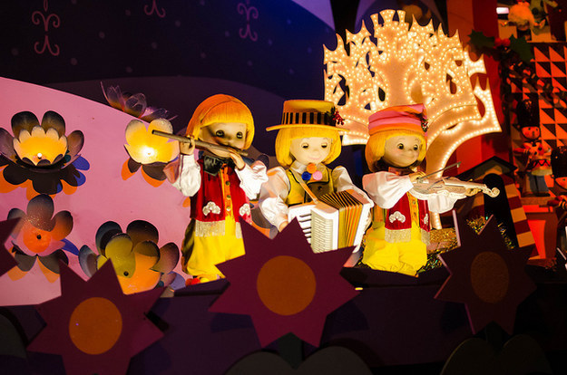 "All of the little ""It's a Small World"" dolls were meant to sing different national anthems at the same time, but someone (thankfully) realized this would be chaos."