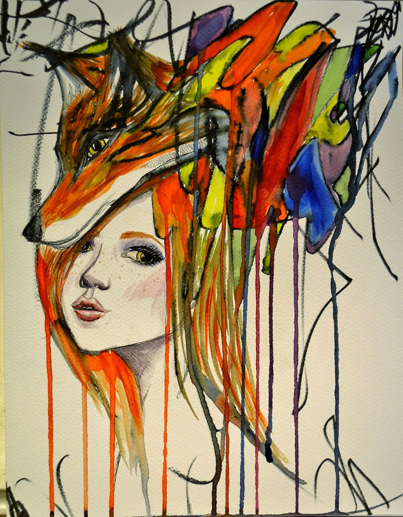 ruth oosterman Turns Daughters Sketches Into Watercolor Paintings 9