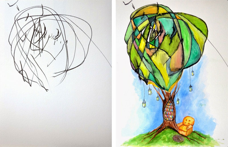 ruth oosterman Turns Daughters Sketches Into Watercolor Paintings 3