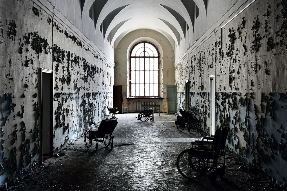 Hallway in a closed Colorno, Italy psychiatric hospital