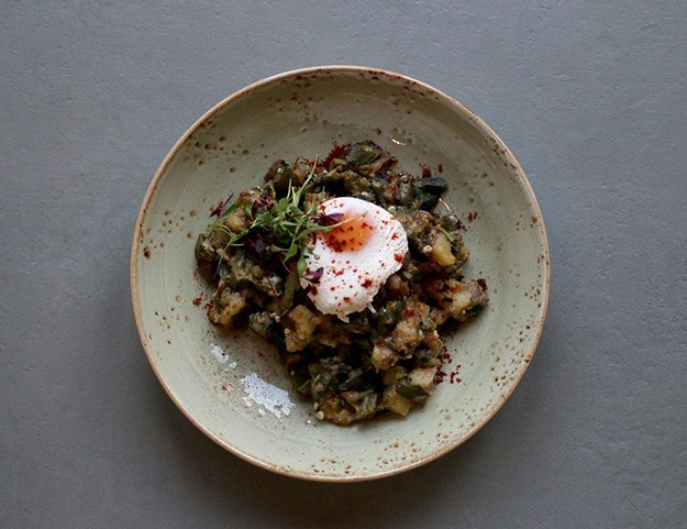 Okra and sweet potato hash with paprika and poached egg at The Plough