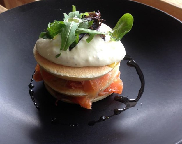 Smoked salmon and chive pancake at the Butchers Social