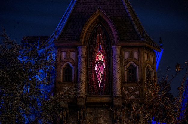 Snow White's evil witch peeks out the window in the tower above Snow White's Scary Adventures every 24 seconds.