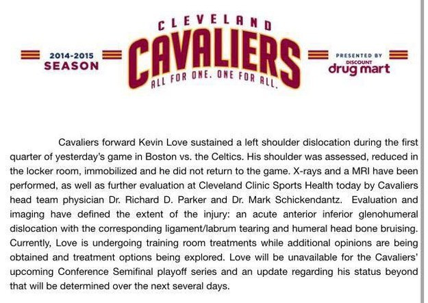 The Cavs reported that Love sustained a left shoulder dislocation. You can read the full press release here.