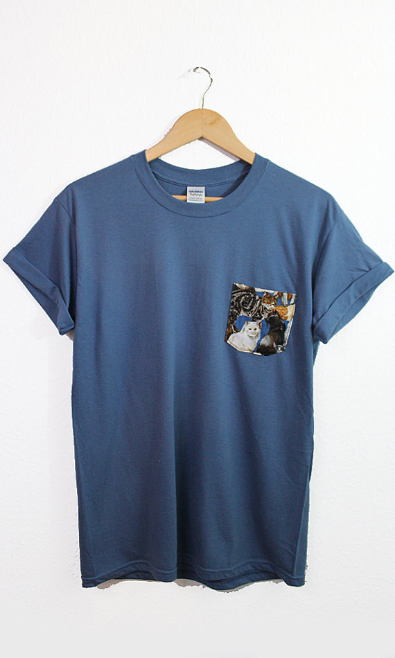 This t-shirt with a pocket full of cats.