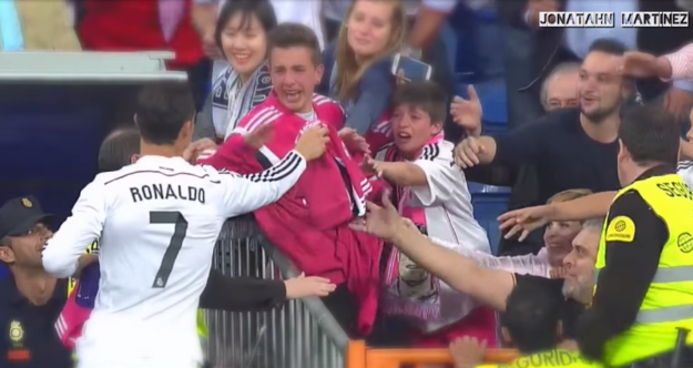 Cristiano Ronaldo Decided To Get Up And Hand Out Jerseys To His Fans At A Real Madrid Game