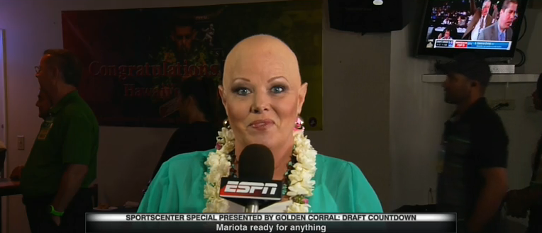 ESPN's Shelley Smith, who just returned to the network after fighting off breast cancer, is in Hawaii as Marcus Mariota waits to get drafted.