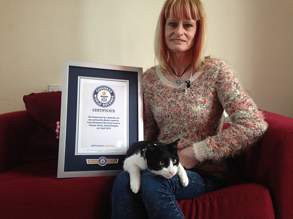 """His owner, Tracy, told Guinness World Records, """"When you're watching films you have to turn the telly up or put him out of the room, if he's eating he'll purr loudly. I can hear him when I'm drying my hair."""""""