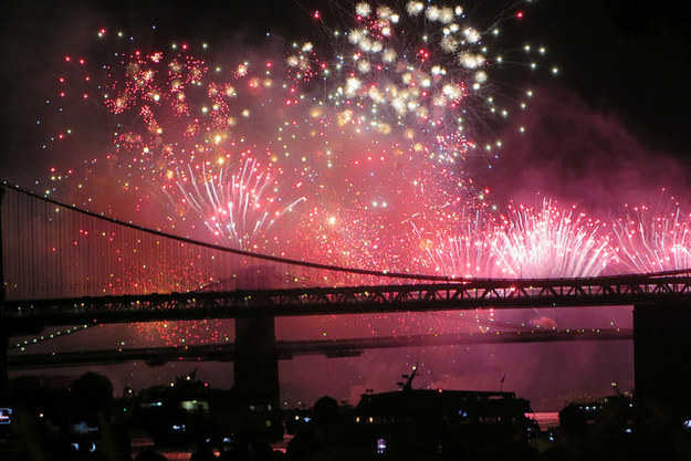 Kiss under the fireworks on the Fourth of July at Brooklyn Bridge Park.