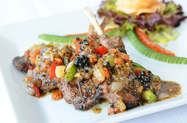 Lamb chops in garlic and peppercorn at Sabai Sabai