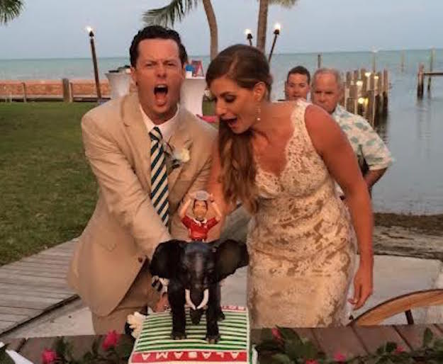 So when the time came to cut the cake, Rob Sabin was clearly overjoyed. He cut into it and...