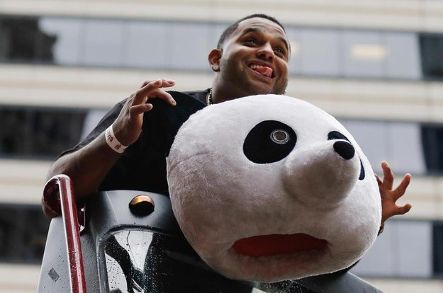 Fan-favorite Pablo Sandoval embraces the joke.