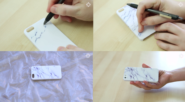 Create a white marble using a gel pen.