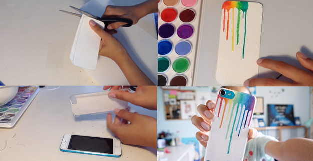 Trace out your phone on paper to create an inlay and frame the rainbow in a clear case.