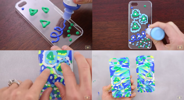 Use puffy paint to make this abstract pattern textured case.