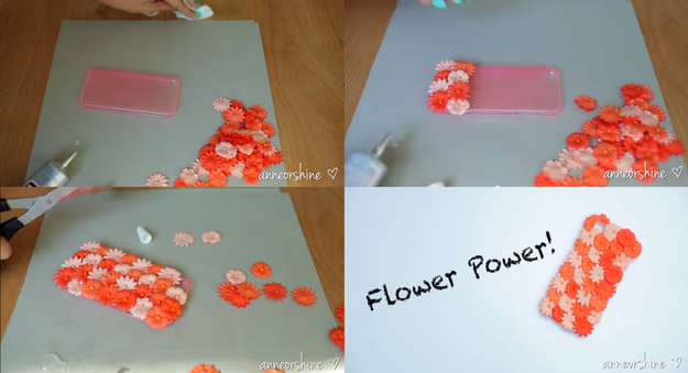Keep your phone fuzzy with some fabric flowers.
