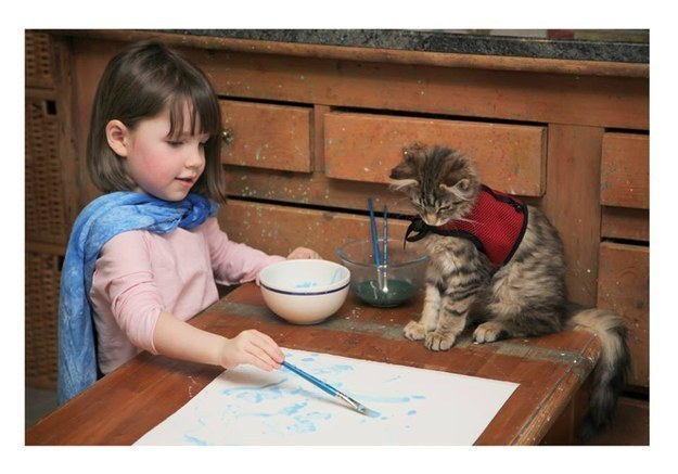 This little artist's assistant.