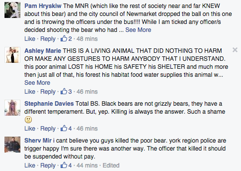 They're also sharing their feelings in the comments on York Regional Police's Facebook page.