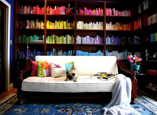 This room creates a colorful atmosphere for reading.
