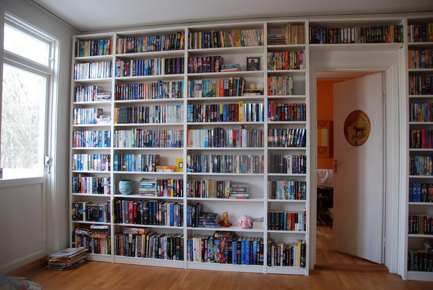 And there's no more beautiful sight to a book-lover than a literal wall of books.