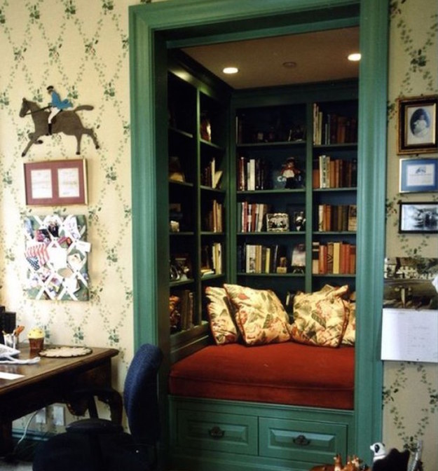 This converted closet creates the perfect cozy reading room.